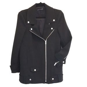 Zara coat double breasted zip up black EUC size M